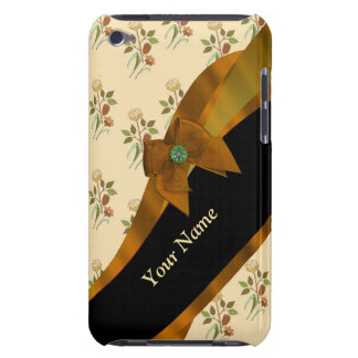 Hübsches braunes Vintages BlumenBlumenmuster Barely There iPod Case