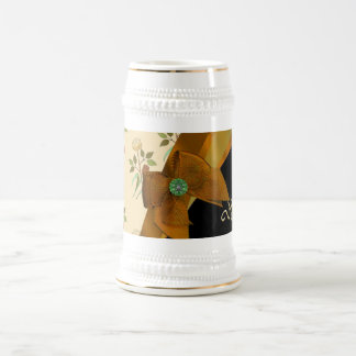 Hübsches braunes Vintages BlumenBlumenmuster Bierglas