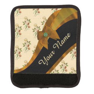 Hübsches braunes Vintages BlumenBlumenmuster Gepäck Markierung