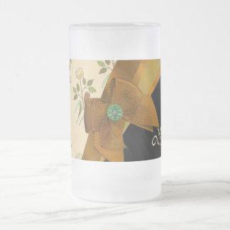 Hübsches braunes Vintages BlumenBlumenmuster Mattglas Bierglas