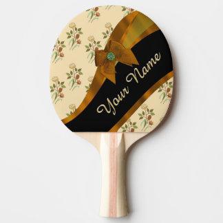 Hübsches braunes Vintages BlumenBlumenmuster Tischtennis Schläger