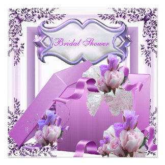 Hübsches Brautparty-lila Geschenk-Blumen-Rose Einladung