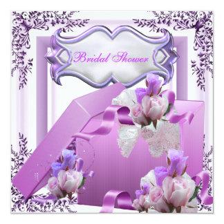 Hübsches Brautparty-lila Geschenk-Blumen-Rose Quadratische 13,3 Cm Einladungskarte