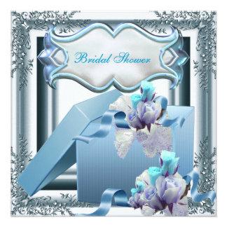 Hübsches Brautparty-Silber-blaue Individuelle Ankündigskarten