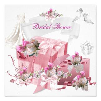 Hübsches Brautparty-weiße rosa Geschenk-Blumen Individuelle Einladungen