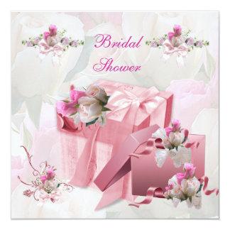 Hübsches Brautparty-weiße rosa Quadratische 13,3 Cm Einladungskarte