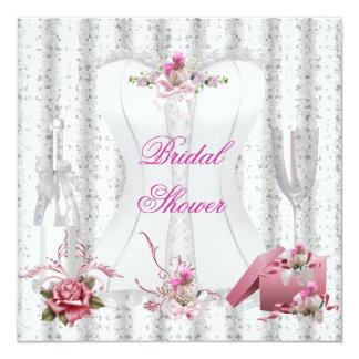 Hübsches Brautparty-weißes rosa Korsett Blumen2 Personalisierte Einladungskarten