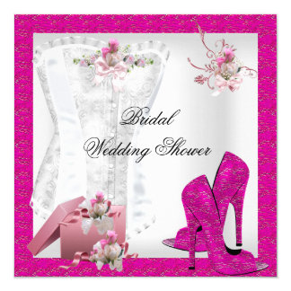 Hübsches Brautparty-weißes rosa Korsett-hoher Quadratische 13,3 Cm Einladungskarte