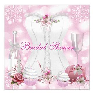 Hübsches Brautparty-weißes rosa Korsett mit Blumen Individuelle Einladung