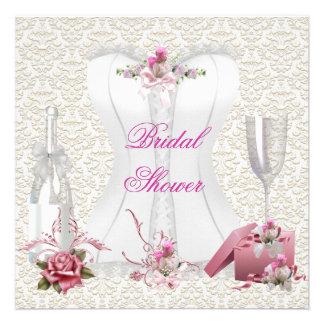 Hübsches Brautparty-weißes rosa Korsett mit Blumen Individuelle Ankündigskarten