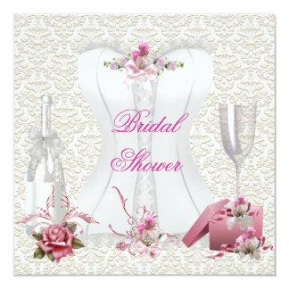 Hübsches Brautparty-weißes rosa Korsett mit Blumen Quadratische 13,3 Cm Einladungskarte