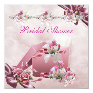 Hübsches Brautparty-weißes rosa Quadratische 13,3 Cm Einladungskarte
