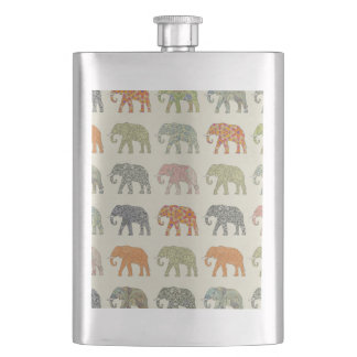 Hübsches Elefant-Muster bunt Flachmann