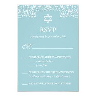Hübsches elegantes blaues Schläger Mitzvah UAWG 8,9 X 12,7 Cm Einladungskarte