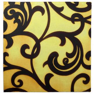 Hübsches elegantes gelbes schwarzes Paisley-Set Serviette