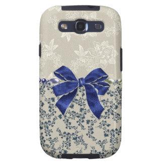 Hübsches Elfenbein u. blauer Blumenkasten samsungs Galaxy S3 Hülle