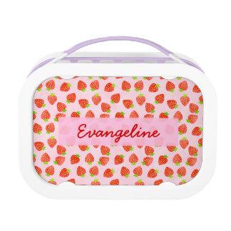 Hübsches Erdbeercreme-Muster personalisiert Brotdose