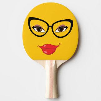 Hübsches gelbes Emoji Tischtennis Schläger