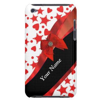Hübsches girly personalisiertes Rotes und weiß iPod Touch Hüllen