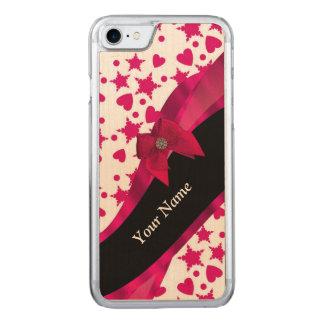 Hübsches girly rotes und weißes gemustertes carved iPhone 8/7 hülle