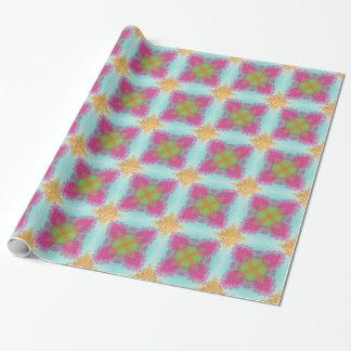 Hübsches Goldaquamarines rosa grünes blumiges Geschenkpapier