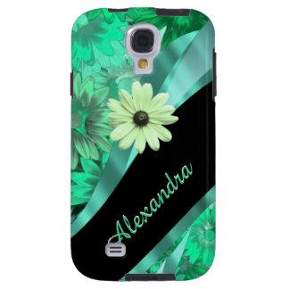 Hübsches grünes Blumenmuster personalisiert Galaxy S4 Hülle