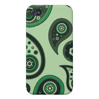 Hübsches grünes Paisley iPhone 4 Schutzhüllen