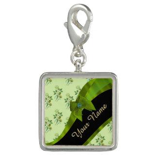 Hübsches grünes Vintages BlumenBlumenmuster Charms