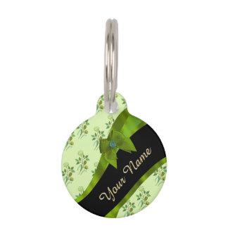 Hübsches grünes Vintages BlumenBlumenmuster Tiernamensmarke