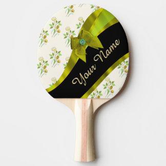 Hübsches grünes Vintages BlumenBlumenmuster Tischtennis Schläger