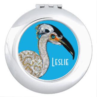 Hübsches Insel-Vogel-Monogramm Taschenspiegel