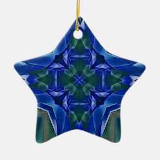 Hübsches königliches Blau-Kreuz-Form-Muster Keramik Ornament