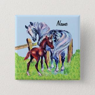 Hübsches liebevolles Mutter-Pferd mit Quadratischer Button 5,1 Cm