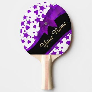 Hübsches lila spotty girly Muster personalisiert Tischtennis Schläger