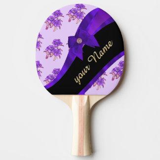 Hübsches lila Vintages BlumenBlumenmuster Tischtennis Schläger