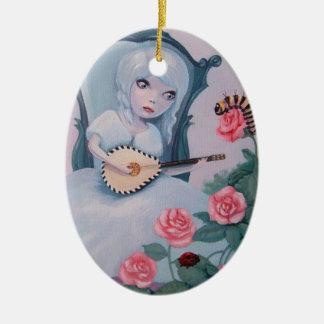 Hübsches Mädchen spielt feenhafte Musik Keramik Ornament