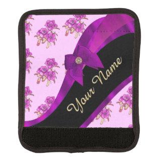 Hübsches malvenfarbenes lila Vintages Blumenmuster Koffergriffwickel