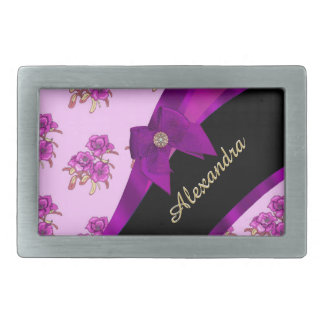 Hübsches malvenfarbenes lila Vintages Blumenmuster Rechteckige Gürtelschnalle