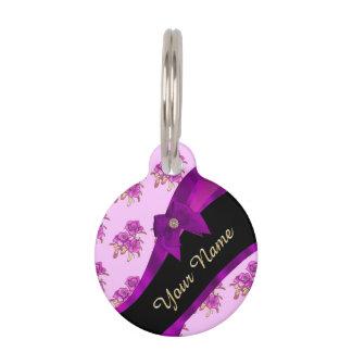 Hübsches malvenfarbenes lila Vintages Blumenmuster Tiernamensmarke