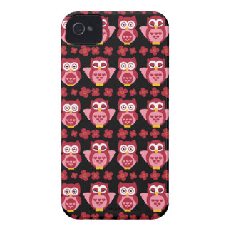 Hübsches niedliches rosa Eulen-und Blumen-Muster-S iPhone 4 Hülle