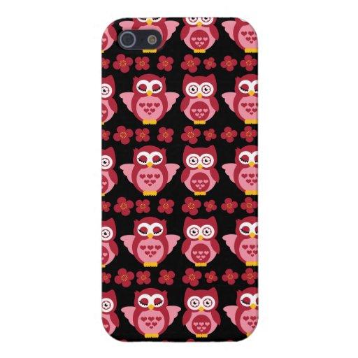 Hübsches niedliches rosa Eulen-und Blumen-Muster-S iPhone 5 Cover