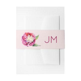 Hübsches Pfingstrosen-Monogramm-Blumenhochzeit Einladungsbanderole