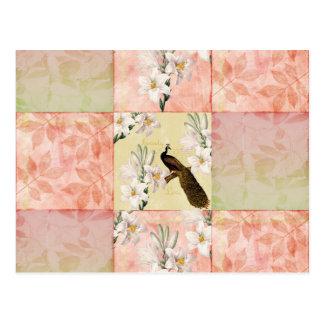 Hübsches Pfirsich-Patchwork Postkarte