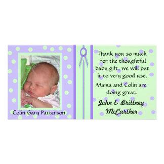 Hübsches Polka-Punkt-Baby-Foto danken Ihnen Karten Photokartenvorlagen