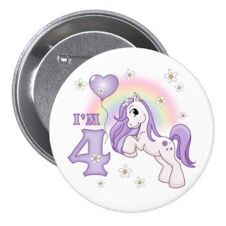 Hübsches Pony-4. Geburtstag Runder Button 7,6 Cm