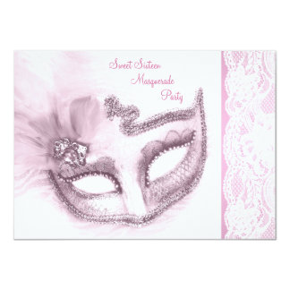 Hübsches rosa 16. Geburtstag-Maskerade-Party Personalisierte Einladungen