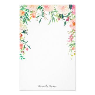 Hübsches rosa Blumen mit Ihrem Namen Briefpapier