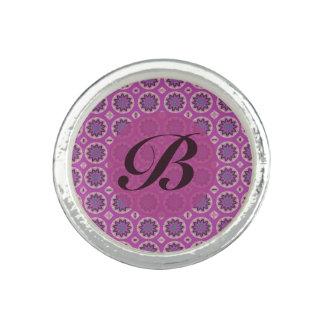 Hübsches rosa Blumenmuster Monogramm Foto Ring