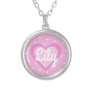 Hübsches rosa Herz-runde hängende Halskette
