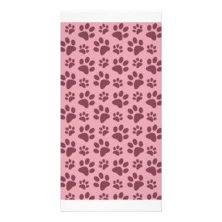 Hübsches rosa Hundetatzen-Druckmuster Photokartenvorlage